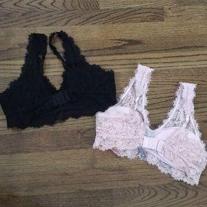 aerie Intimates & Sleepwear - Aerie Blush Pink & Black Romantic Lace Bralettes
